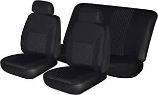 Autonise Universal fit Classic Sport Bucket seat Cover (Fit Most Car,Truck, SUV, or Van with headrest) Airbag Compatible (Black Jacquard, Full Set)