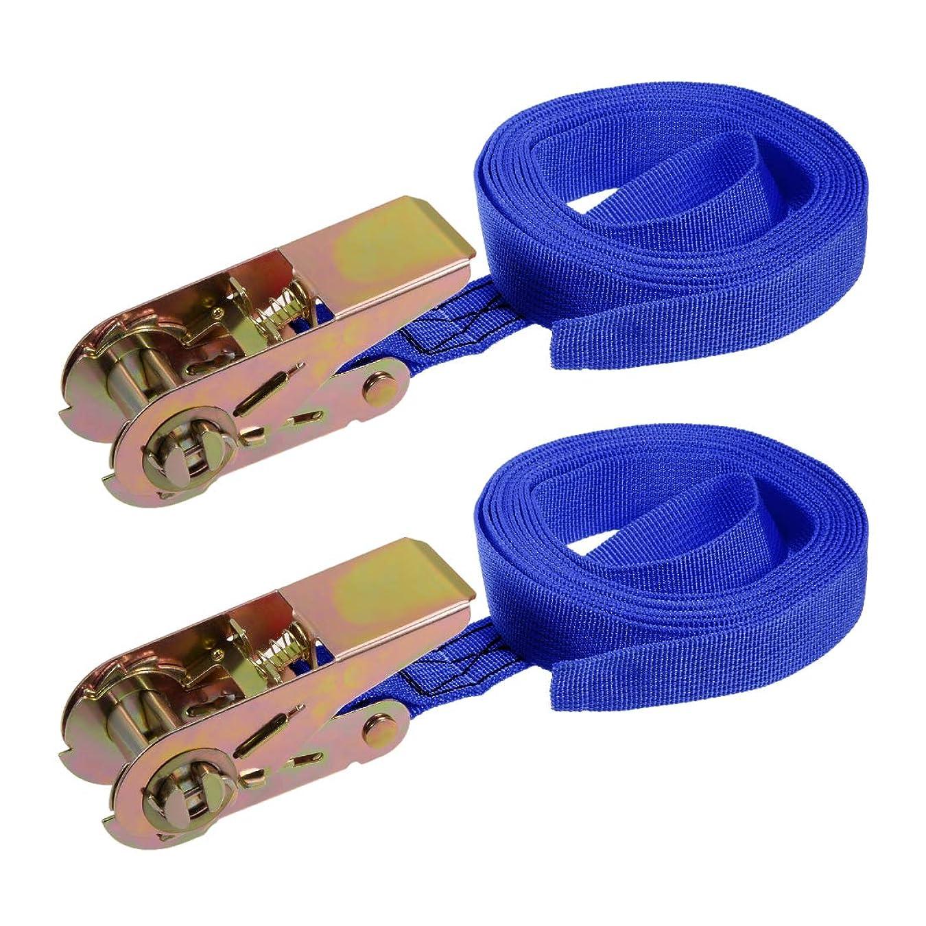 uxcell 荷物ストラップ ラチェット式 貨物輸送 荷物落下防止 荷物固定ロープ 荷締めベルト ブルー 3Mx25mm 250Kg ネクタイラッシングストラップ 2個入り