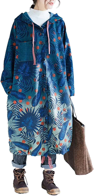 Flygo Womens Casual Loose Long Denim Trench Coat Jean Jacket Floral Printed Drawstring Hoodie