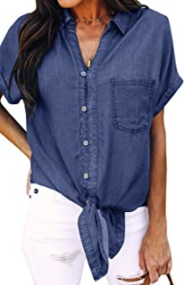 7503f5a34a Meilidress Womens Tie Knot Front Button Down Denim Shirts Vintage Short  Sleeve Tunic Lapel Jeans Tops