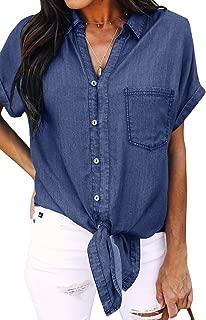 Womens Tie Knot Front Button Down Denim Shirts Vintage Short Sleeve Tunic Lapel Jeans Tops