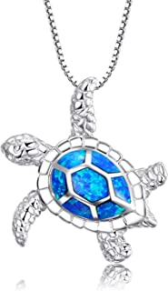 "Victoria Jewelry [Health and Longevity 925 Sterling Silver Created Blue Opal Sea Turtle Pendant Necklace 18"", Birthstone Jewelry for Women(Blue)"