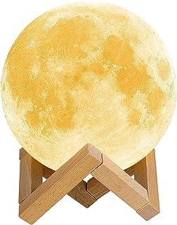 RW-Lámpara de Luna LED,Luna Nocturna Táctil,Lámpara de Ambiente,Lámpara Impresión 3D,Co lores Regulables,Carga USB,Lámpara para Niños,Luna Decorativa,Decoración de Habitación,Regalos para Cumpleaños
