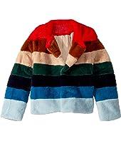 Faux Fur Jacket in Rainbow Pop (Big Kids)