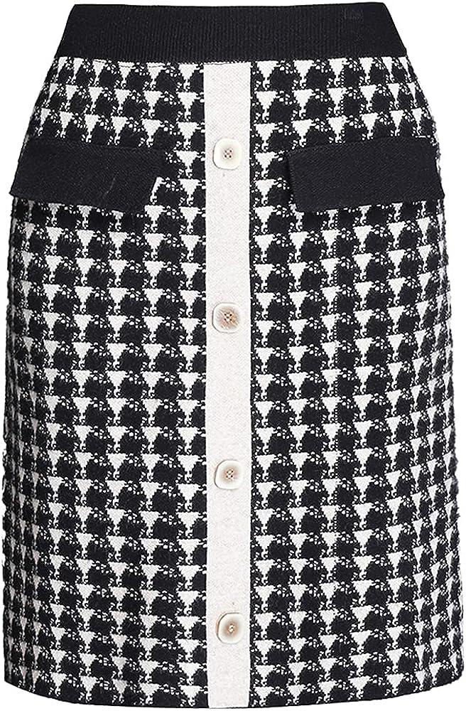 ATHX Women Elastic Waist A Line Plaid Midi Skirt