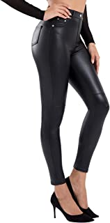 Faux Leather Leggings for Women High Waisted Pleather...