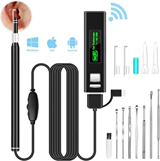 VITCOCO WiFi Ear Otoscope, Wireless Digital Ear Endoscope 1.3MP 720HD Ear Scope Camera with 6 Adjustable LED, Portable Visual Ear Wax Removal Tool for iPhone Android Smartphone Windows & Mac