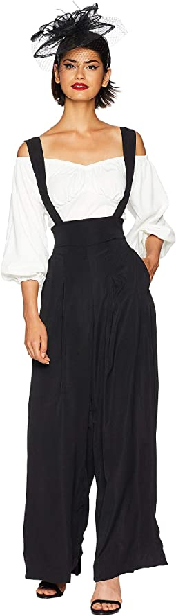 High-Waisted Wide Leg Rochelle Suspender Pants