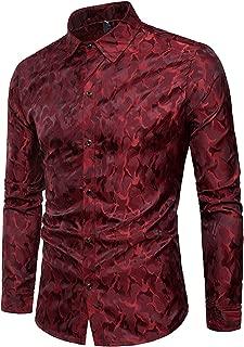 AIEOE Men's Button Front Shirt Slim Fit Long Sleeve Soft Printed Dress Shirts