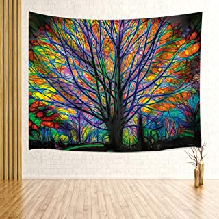 MILIER Tree of Life Tapestry Wall Hanging, Colorful Tree Forest with Birds, Psychedelic Bohemian Hippie Wall Tapestry for Bedroom Living Room Dorm Decor 71X60Inches