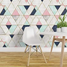 Spoonflower Non-Pasted Wallpaper, Geometric Mid Century Modern Triangles Geo Navy Print, Swatch 12in x 24in