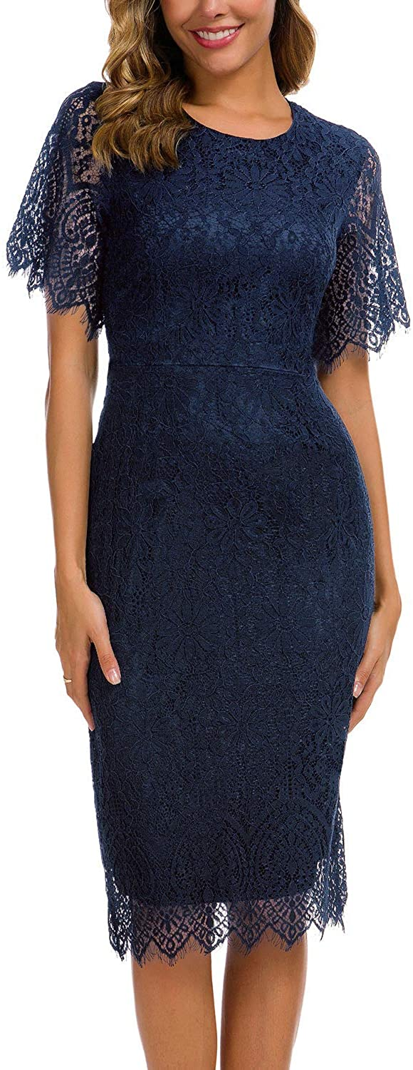 Women's Elegant Floral Lace Round Neck Short Sleeves Cocktail Party Bodycon Midi Dress 931