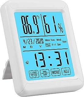 CAMWAY Thermometre Numérique Digital Interieur/Extérieure Hydrometre Indicateur D'humidité avec Grand Ecran Tactile et Fon...