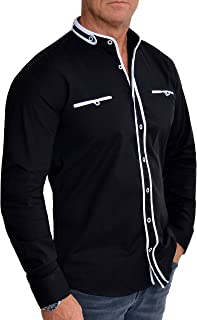 D&R Fashion Men's Band Collar Shirt Contrastive Piping Long Sleeve Stretchy Cotton