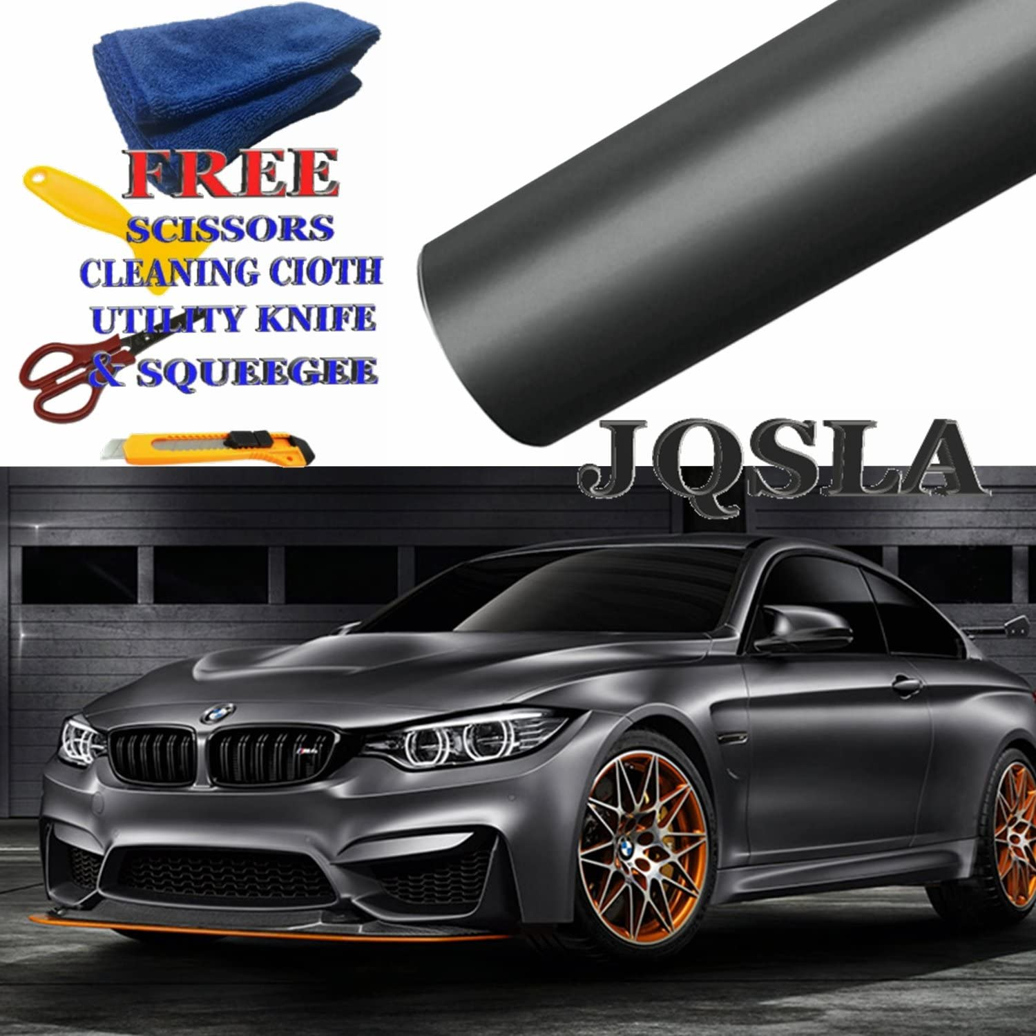 Cutter, Scissors, Squeegee /& Cleaning Cloth 1ft x 5ft // 12 in x 60 in JQSLA Premium Plating Black Gray Satin Matte Chrome Vinyl Film Wrap Sticker Air Bubble Free with Free Tools