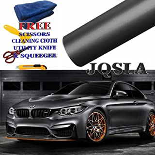 JQSLA Premium Plating Black Gray Satin Matte Chrome Vinyl Film Wrap Sticker Air Bubble Free with Free Tools (Cutter, Scissors, Squeegee & Cleaning Cloth) (20ft x 5ft / 240 in x 60 in)