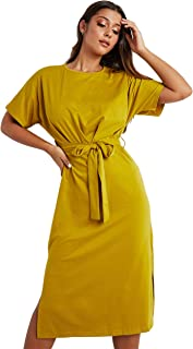 Solid Round Neck Tie Belt Midi Women's Dress