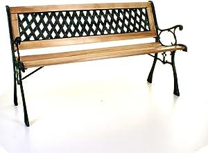 Marko Outdoor Wooden 3 Seater Cross Lattice Garden Bench Park Seat with Cast Iron Legs