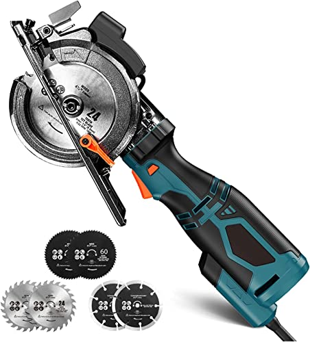 """wholesale Mini Circular Saw, 5.8A 3500RPM, Metal Handle, 6 Blades (4-3/4"""" & 4-1/2""""), Laser, Cutting Depth 90° (1-11/16''), high quality 45° (1-3/8''), Power Circular lowest Saw for Wood, Soft Metal, Plastic- TCS115A online"""