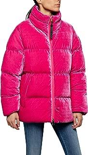 Replay Women's Velvet Puffer Jacket Fuchsia