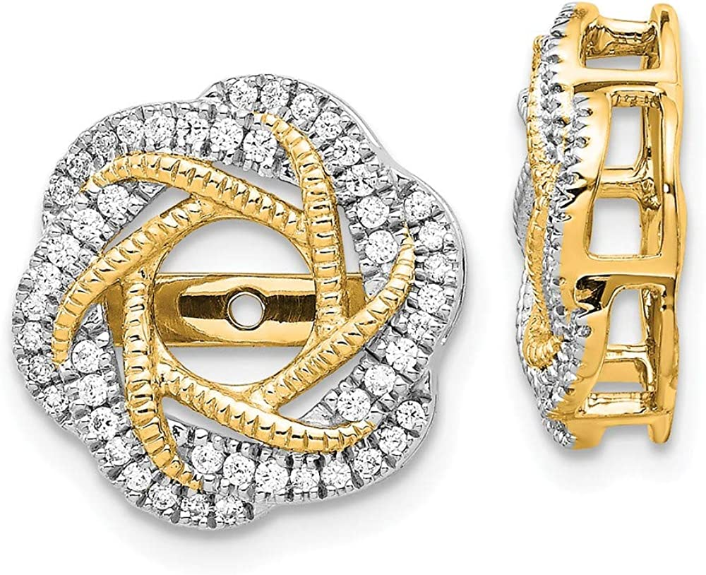 Jewels By Lux 14k White Gold Diamond Jacket Earring