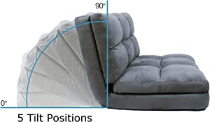 Loungie 5 Position Adjustable Convertible Flip Chair, 46.06 Inches L by 29.13 Inches W by 8.66 Inches H, Micro-Suede, Sleeper Dorm Bed Couch Lounger Sofa, Grey