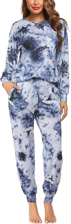 Ekouaer Women's Tie Dye Pajamas Set Long Sleeve Tops and Pants PJ Sets Two Piece Sleepwear Casual Lounge Nightwear S-XXL
