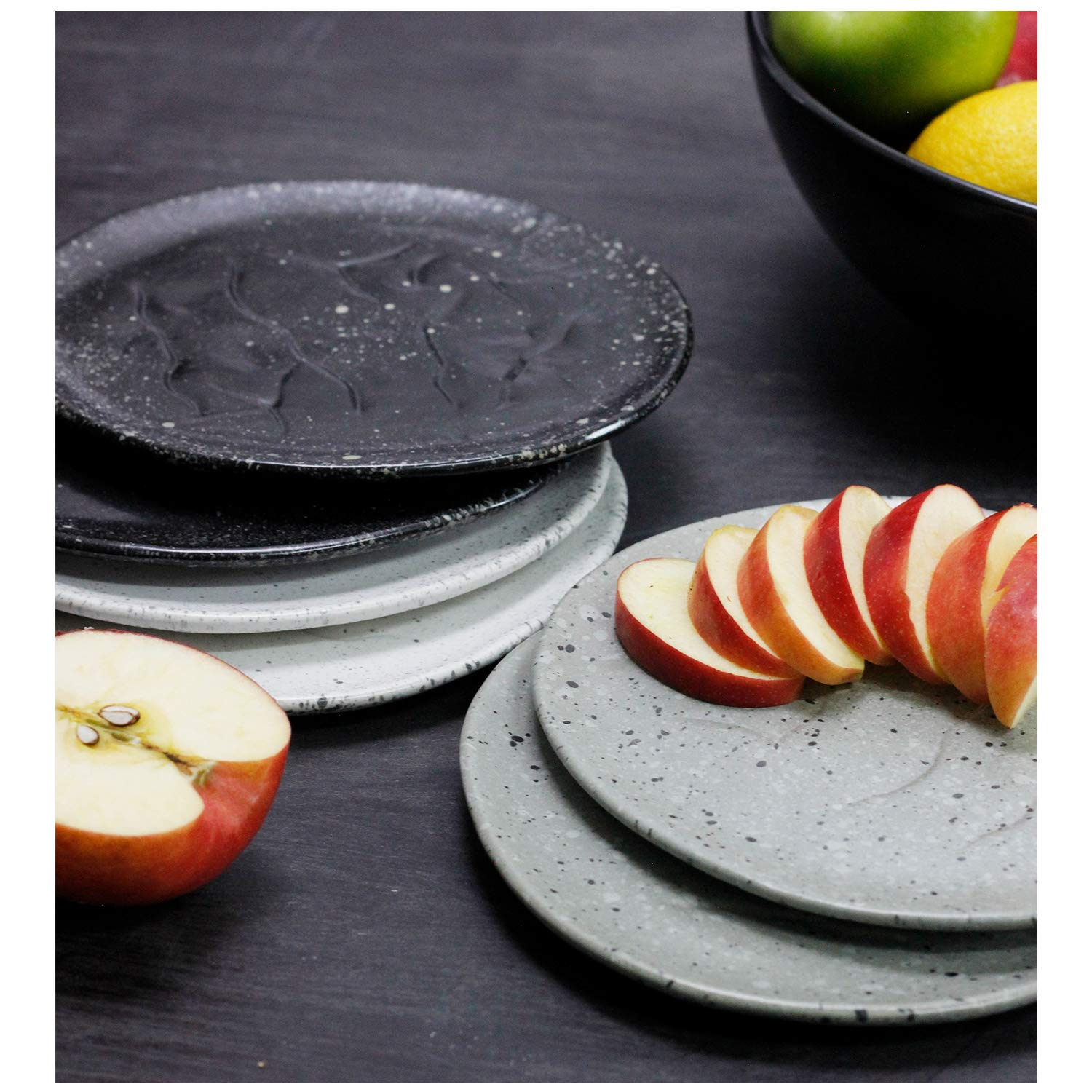 Black Speckled Hand-Thrown RoRo 8 Inch Speckled Appetizer Plate Set of 2