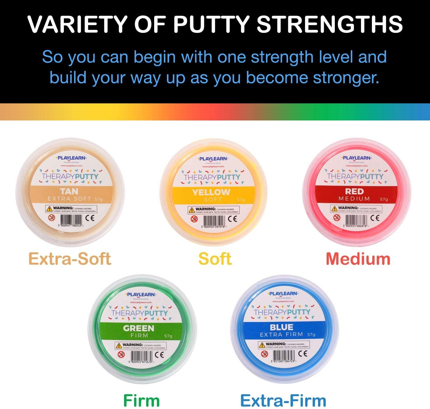 Playlearn Therapy Putty - 5 Strengths - Stress Putty for Kids and Adults - Extra Soft to Firm : Health & Household