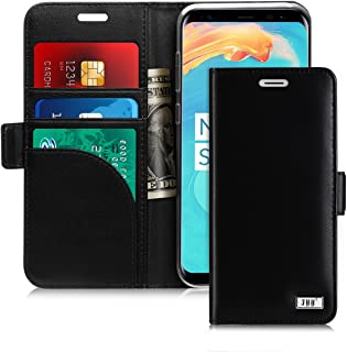 FYY [Genuine Leather] Wallet Case for Samsung Galaxy S8+ Plus 2017, Handmade Flip Folio Wallet Case with Kickstand Card Slots Magnetic Closure for Samsung Galaxy S8+ Plus 2017 Black