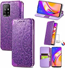 Case Compatible with Oppo A94 5G F19 Pro, Embossing Flower PU Leather Wallet Case [Card Holder Slot] [Soft Inner TPU Cove...