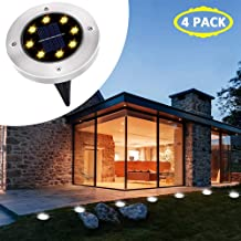 HuiChuang technology Solar Floor Lamp,Outdoor Stainless Steel 8LED Solar Floor Lamp,Patio Walkway Lighting,Waterproof Path,Outdoor Ground Lawn, Courtyard Deck, Courtyard Walkway (4 Pack Warm)