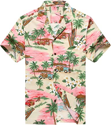 Hecho en Hawaii Camisa Hawaiana de los Hombres Camisa Hawaiana PlumeriaPalma Mini Tablas de Surf Rosado