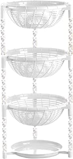 Uncluttered Designs Stacking Basket Bins (4 Layer) for Fruit, Produce, Kitchen Cabinet, Pantry, Closet, Bedroom, Bathroom Organization & Storage (White)
