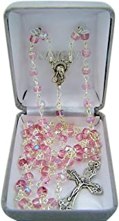 Catholic Pink Glass Capped Prayer Bead Rosary Necklace, 24 Inch
