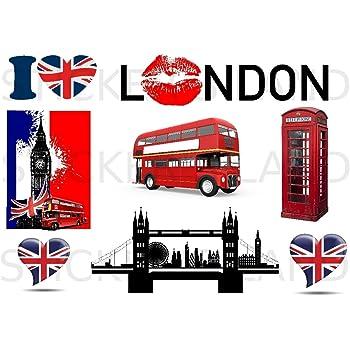 Planche Lot 9 Stickers Mode D/éco Londres Big Ben Drapeau Royaume Uni Promobo