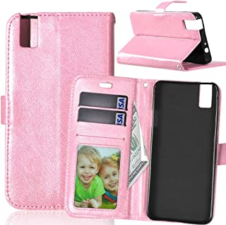 JUJIANFU-Phone Case for Huawei Honor 7i/for Huawei Shot X Solid Color Premium PU Leather Wallet Magnetic Buckle Design Flip Folio Protective Case Cover with Card Slot/Stand (Color : Pink)