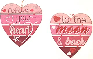 Greenbrier International Valentine's Day Message Hanging Hearts Decorative Wall Plaques 11.0 Inch x 12.0 Inch Pack of 2