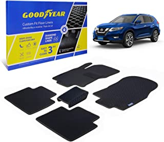 Goodyear Custom Fit Car Floor Liners for Nissan Rogue 2014-2020, Black/Black 5 Pc. Set, All-Weather Diamond Shape Liner Traps Dirt, Liquid, Rain and Dust, Precision Interior Coverage - GY004030