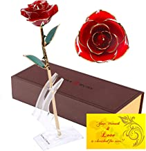 DuraRose Authentic Rose with Stand and Love Card, Everlasting Real Rose Stem Dipped in 24k Gold - Best Gift for Loves Ones. Ideal for Valentine's Day, Mother's Day, Anniversary, Birthday (Red)
