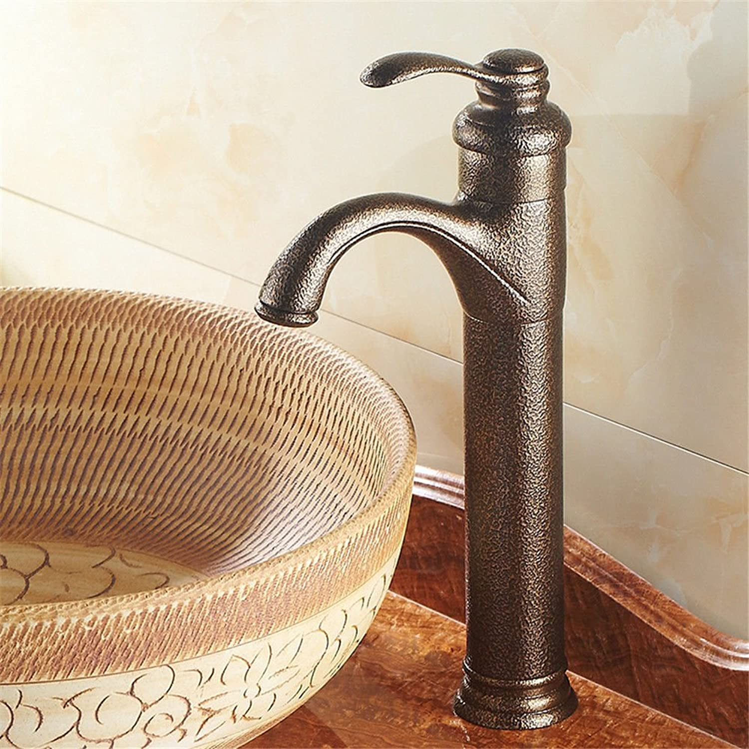 Modern simple simple simple copper hot and cold kitchen sink taps kitchen faucet Antique above counter basin faucet copper hot and cold single handle single hole basin faucet Suitable for bathroom kitchen sinks 268662