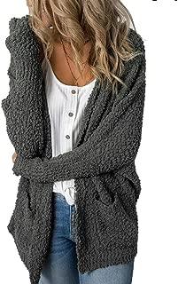 Imily Bela Womens Fuzzy Chunky Cardigan Popcorn Oversized Sherpa Slouchy Open Sweater Coat