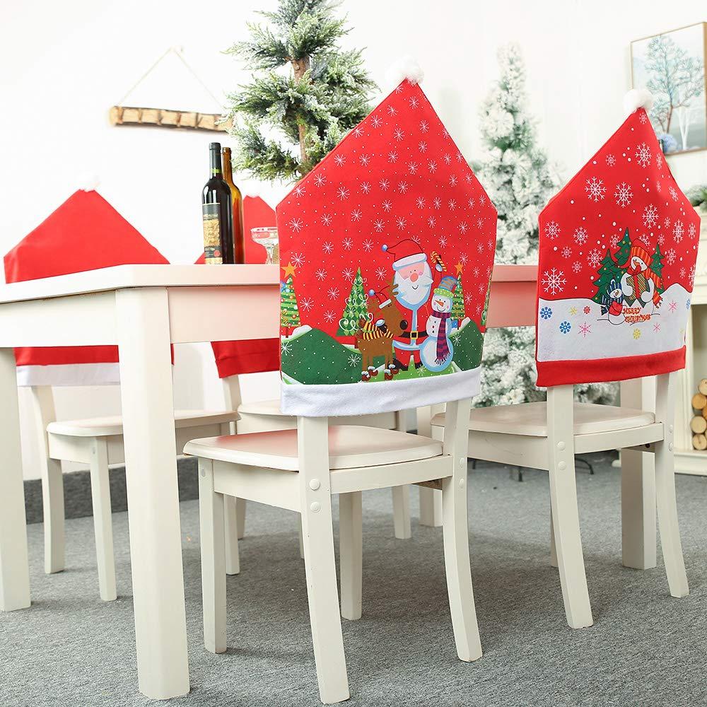 JuguHoovi 10 Pcs Christmas Chair Covers Snowman and Santa Claus Printed,  Christmas Chair Back Covers Christmas Dining Slipcovers Decoration for Xmas