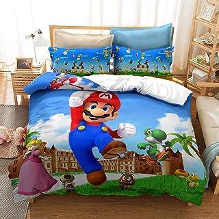JSYJ 2/3 Piezas de Fundas nórdicas, sábanas Impresas en 3D Super Mario Bros Juego de Cama Individual Doble Funda nórdica y 1/2 Funda de Almohada, for Adolescente Niñas Niños Regalo
