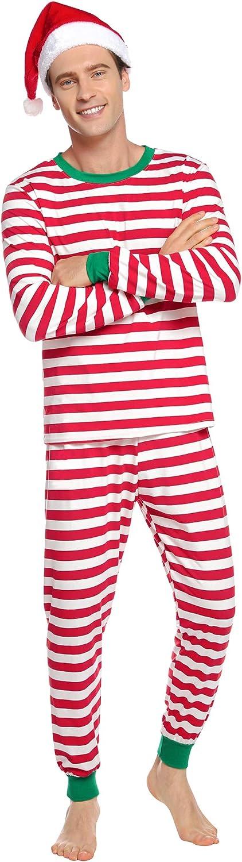 Merry Xmas Printed Long Sleeve Long Pants Pajamas Set Sleepwear Outfits for Dad Mom Kids Aibrou Matching Christmas Pyjamas for Family