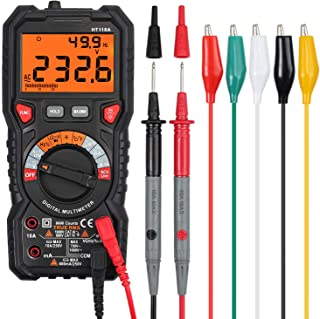 Proster Digital Multimeter 6000 Count TRMS Multimeter AC/DC Voltage/Current NCV Temperature Resistance Diode Continuity with 5 Colors Multimeter Leads