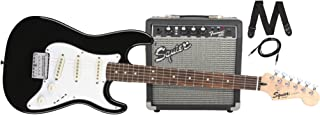 Squier by Fender Stratocaster Short Scale Beginner Electric Guitar Pack with Squier Frontman 10G Amplifier - Black Finish