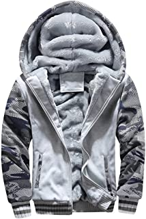Mens Faux Fur Lined Coat Winter Warm Fleece Hood Zipper Sweatshirt Jacket Outwear(Please Order 2 Size up
