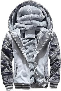 Mens Faux Fur Lined Coat Winter Warm Fleece Hood Zipper Sweatshirt Jacket Outwear