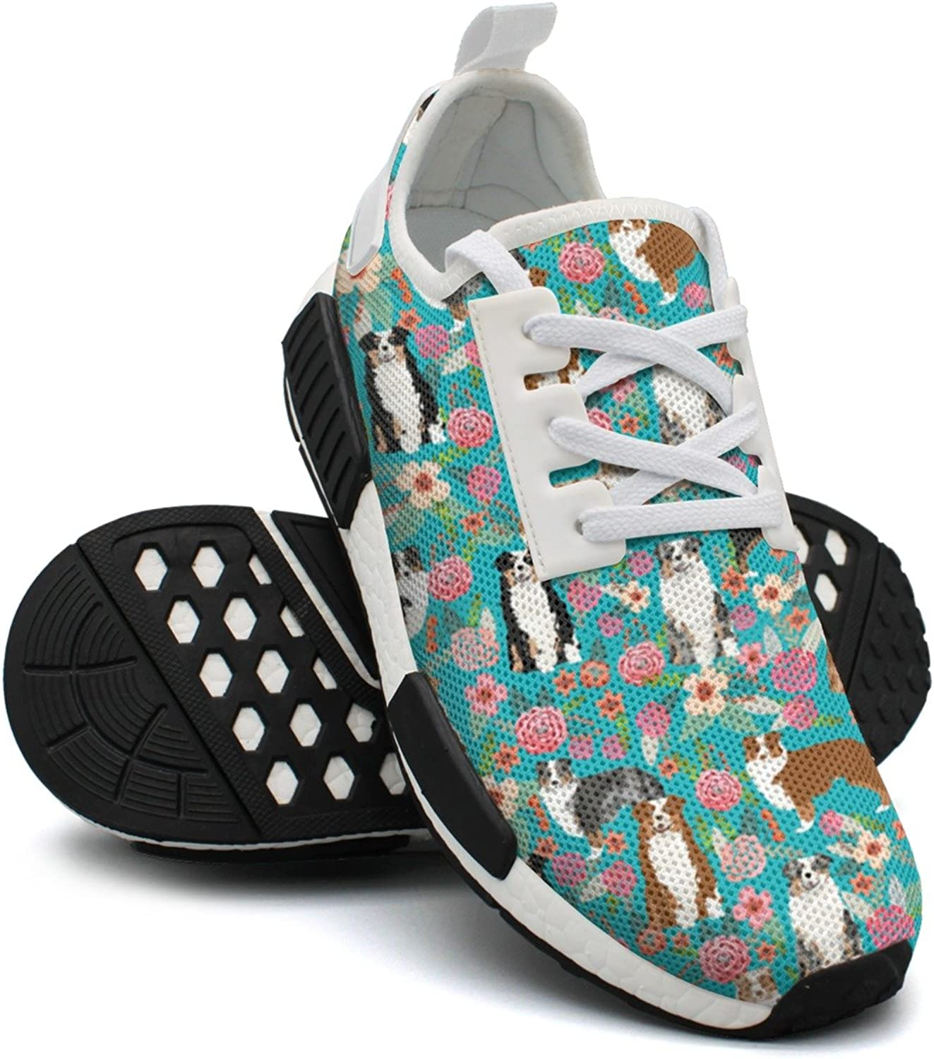 Ktyyuwwww Attractive Women colorful Cool Australian Shepherd Dog Floral Navy Fashion Running shoes